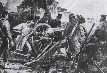 Mentana. Garibaldi presso uno dei due pezzi di artiglieria catturati al nemico; essi permisero di avere il sopravvento nella prima fase della battaglia